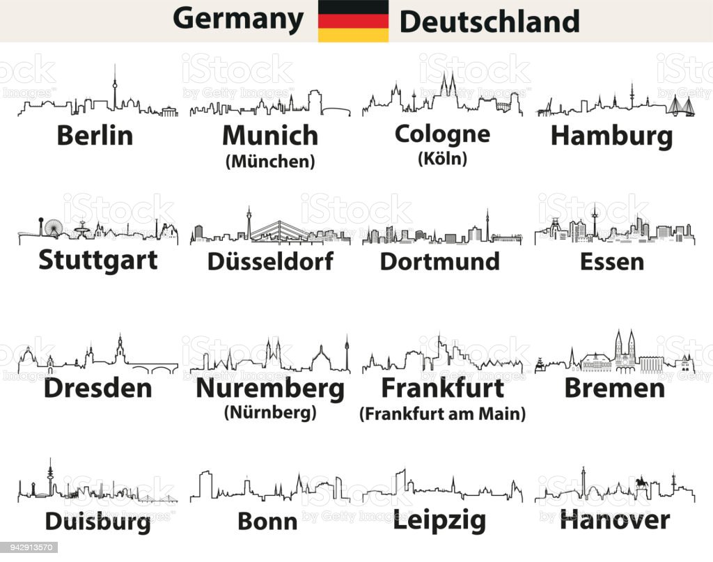 vector abstract outline icons of Germany cities skylines vector art illustration