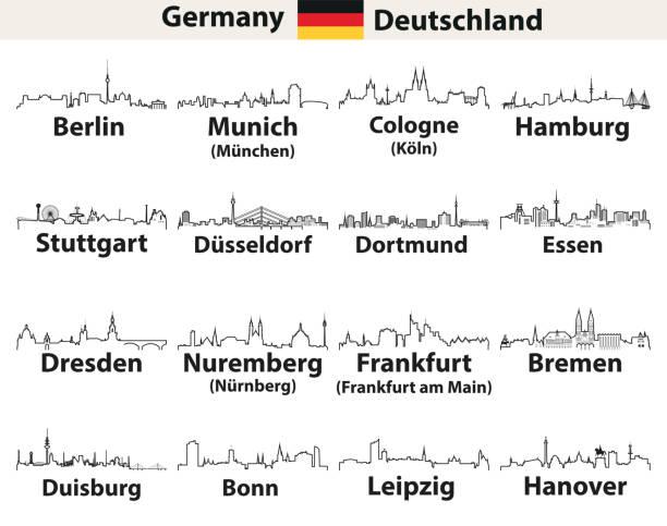 vektor-abstrakte gliederung symbole der deutschland städte skylines - hannover stock-grafiken, -clipart, -cartoons und -symbole