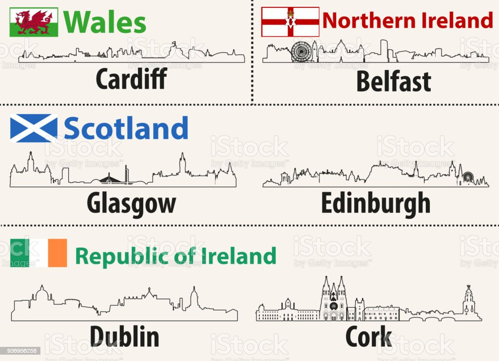 vector abstract outlines of British cities skylines vector art illustration