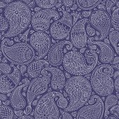 Vector abstract Paisley seamless pattern.Stylized floral  elements with fantastic flowers, leaves. Beige hand drawn contour lines on dark indigo blue background.Textile bohemian print,Batik, wallpaper