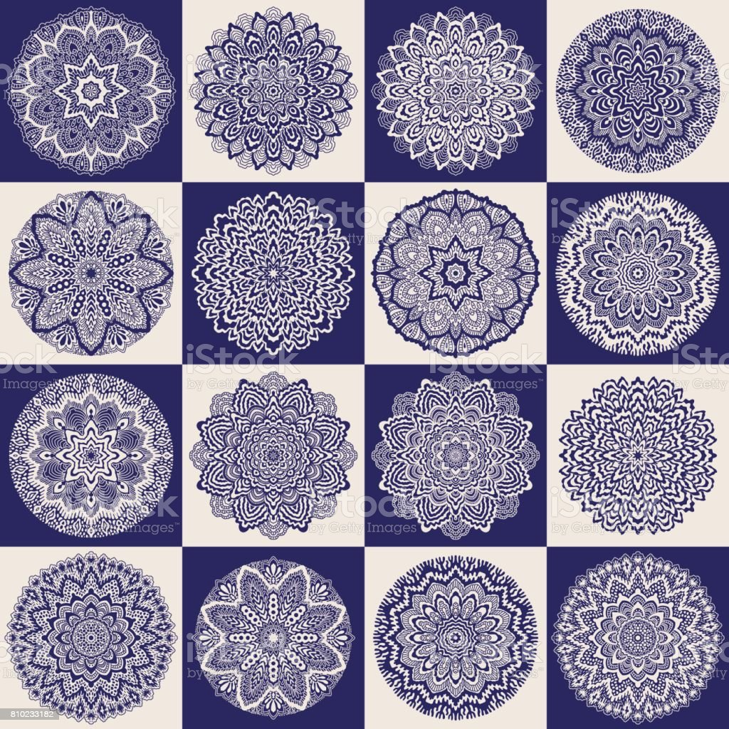 Vector abstract patchwork seamless pattern from dark blue and beige ethnic ornaments. Wallpaper background. Hand drawn mandala round ornament set, batik, fantasy tracery, textile print, wrapping paper vector art illustration