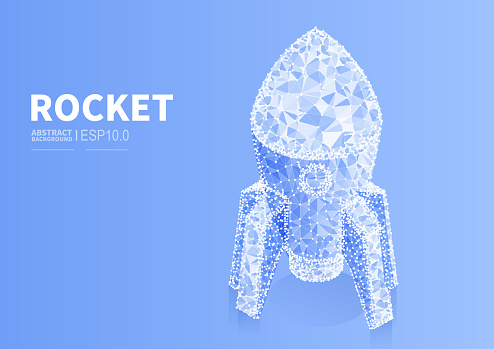 Vector abstract polygonal dotted line rocket, new business start up concept illustration