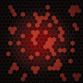 Vector abstract red gradient background with hexagon shapes and holes.