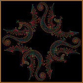 Vector abstract scarf humorous print with dragon monsters on a black background. Rosette from dark colorful hand drawn flowers and fantasy ornate cute dinosaur. Tee shirt print, pillow embroidery