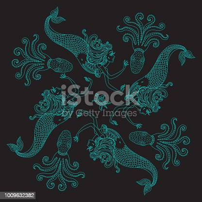 Vector abstract scarf print with fairy tale mermaids on a black background. Rosette from dark turquoise hand drawn fantasy ornate cute octopus. Tee shirt print, pillow embroidery