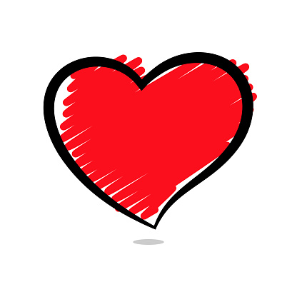 Vector Abstract Scribbled Heart On White Background