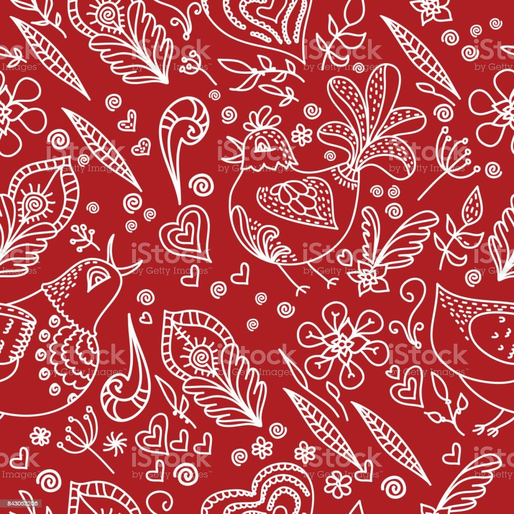 Vector Abstract Seamless Background With Flowers Birds And Hearts ...