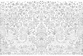 Vector abstract seamless border dark grey unicorn print on a white background. Floral pattern from hand drawn rose flowers, fantasy leaves and fairy tale animal, ornate cute horse. Wallpaper fringe
