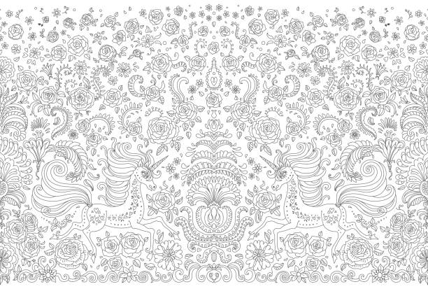 vector abstract seamless border dark grey unicorn print on a white background. floral pattern from hand drawn rose flowers, fantasy leaves and fairy tale animal, ornate cute horse. wallpaper fringe - unicorn line drawings stock illustrations, clip art, cartoons, & icons