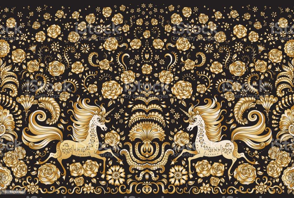 Vector Abstract Seamless Border Gold Unicorn Print On A Black