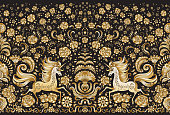 Vector abstract seamless border, gold unicorn print on a black background. Floral pattern from golden hand drawn rose flowers, fantasy leaves and fairy tale animal, ornate cute horse. Scarf, shawl, wallpaper