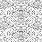 Vector abstract seamless geometrical background from black fan shaped ornate elements with ethnic patterns on a white background. Folklore, tribal. Art deco wallpaper, wrapping paper, batik paint, textile print, covering