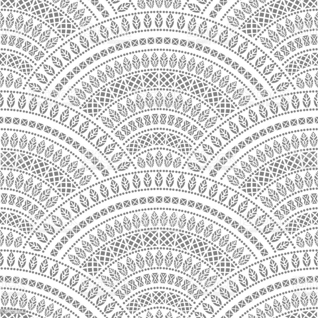 Vector abstract seamless geometrical background from black fan shaped ornate elements with ethnic patterns on a white background. Folklore, tribal. Art deco wallpaper, wrapping paper, batik paint, textile print, covering vector art illustration