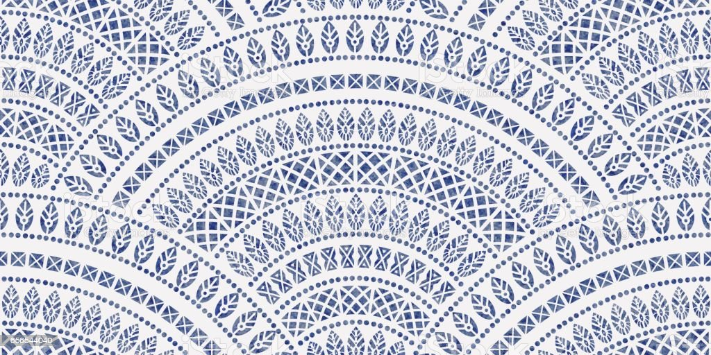 Vector abstract seamless geometrical background from blue fan shaped ornate elements with ethnic patterns on a white background. Watercolor painting texture.Folklore, tribal. Art deco wallpaper, wrapping paper, batik paint, textile print, covering