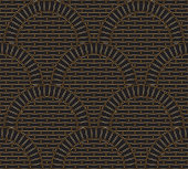 Vector abstract seamless geometrical background from contour linear metallic gold tile elements with regular wavy layout. Golden brick wall surface with circular arches. Wallpaper, web page, texture map