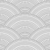Vector abstract seamless geometrical background from silver gray fan shaped ornate elements with ethnic patterns on a white background. Folklore, tribal. Art deco wallpaper, wrapping paper, batik paint, textile print, covering