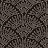 Vector abstract seamless geometrical pattern from beige bronze and gray feathers,  fan shaped ornate elements  on a dark black background. Folklore, tribal. Art deco wallpaper, wrapping paper, batik paint, textile print, covering