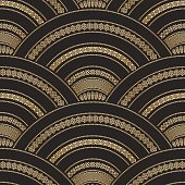 Vector abstract seamless golden and black wavy pattern