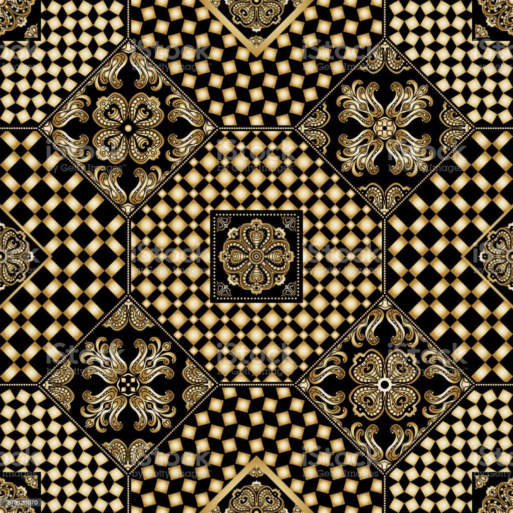 Ilustración de Vector Abstracto Patchwork Sin Costura Fondo De ...
