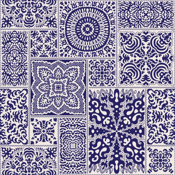 stockillustraties, clipart, cartoons en iconen met vector abstracte naadloze patchwork patroon van donker blauw en beige etnische versieringen. wallpaper achtergrond. mandala ronde sieraad, batik, fantasie maaswerk, textiel afdrukontwerp, inpakpapier, albumhoes - batik
