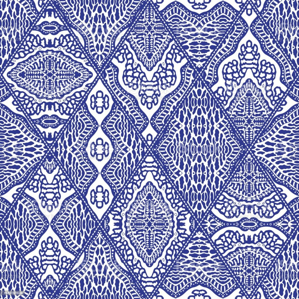 Vector Abstract Seamless Patchwork Pattern From Dark Blue