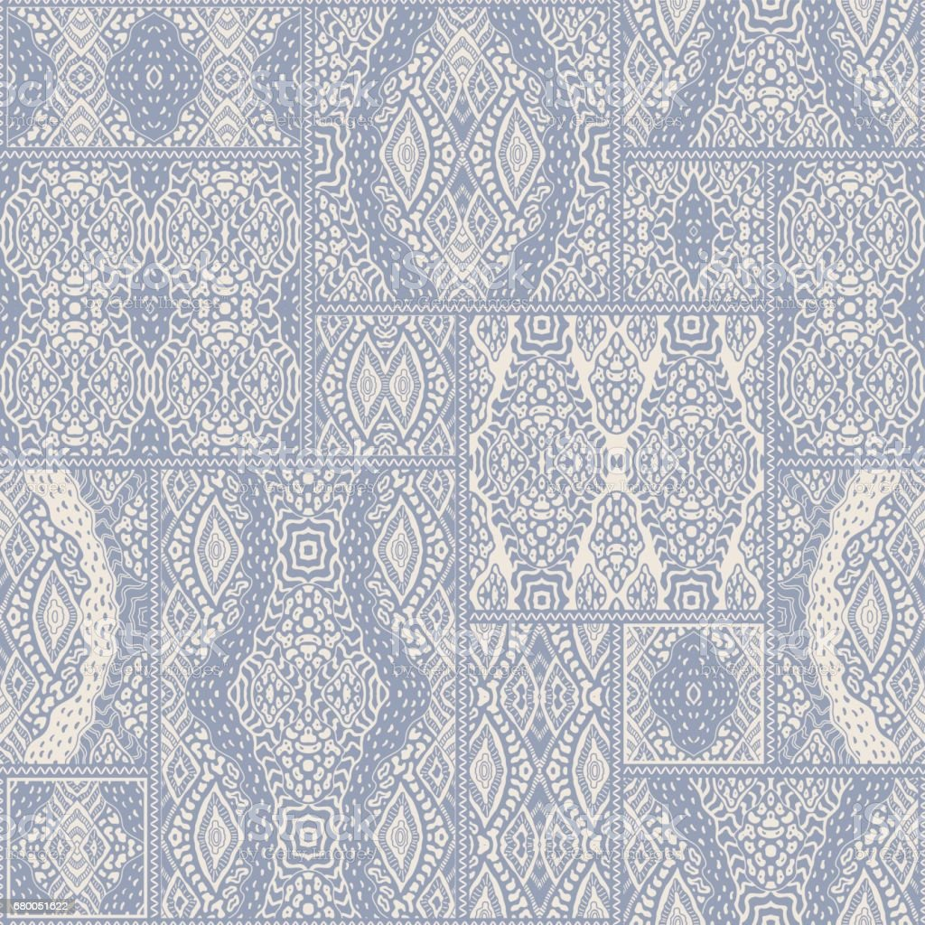 Vector abstract seamless patchwork pattern from light blue and beige ethnic ornaments. Wallpaper background. Exotic batik, fantasy ikat tracery, textile print design, wrapping paper, album cover vector art illustration