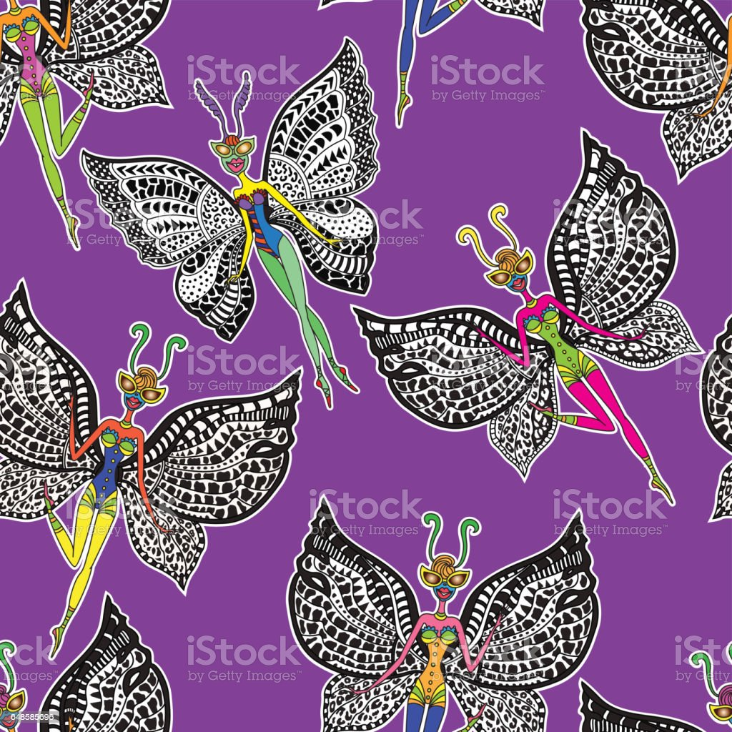 vector abstract seamless pattern from humorous butterfly cartoon