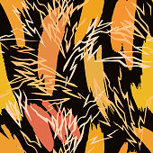 Vector abstract seamless pattern made of brush strokes shapes mixed with zig zag thin lines texture. Smears with uneven edges. Simple figures in flat design. Broken lines background
