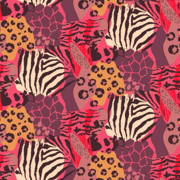vector abstract seamless pattern with animal skin motifs. - futro tkanina stock illustrations