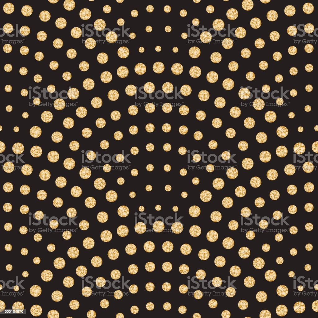 Vector abstract seamless wavy pattern with geometrical fish scale layout. Light small metallic gold water drops on a black background.Peacock tail shape,fan silhouette.Wallpaper, print, wrapping paper vector art illustration