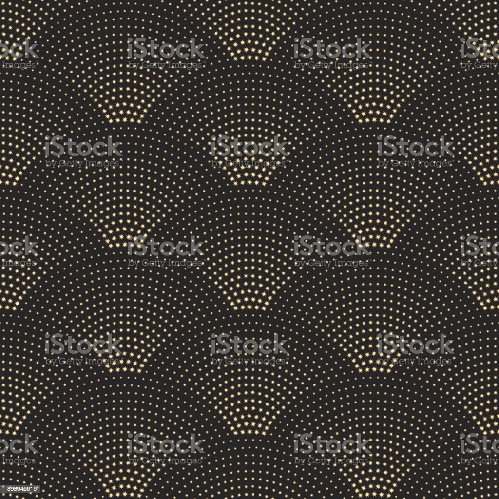 Vector abstract seamless wavy pattern with geometrical fish scale layout. Golden metallic stars on a dark black background. Fan shaped Christmas garlands. New Year snowflake holiday decoration. vector art illustration