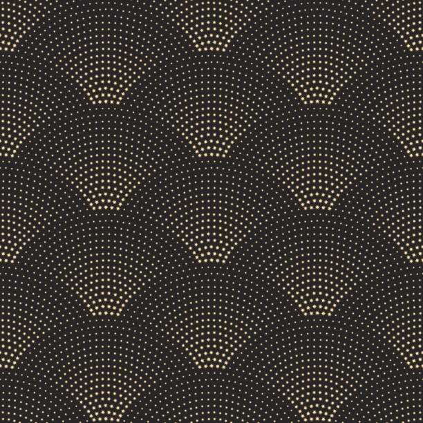 vector abstract seamless wavy pattern with geometrical fish scale layout. golden metallic stars on a dark black background. fan shaped christmas garlands. new year snowflake holiday decoration. - tile pattern stock illustrations, clip art, cartoons, & icons