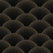 Vector abstract seamless wavy pattern with geometrical fish scale layout. Golden beige snowflakes and  stars on a dark black background. Fan shaped Christmas tree garlands .New Year holiday decoration.