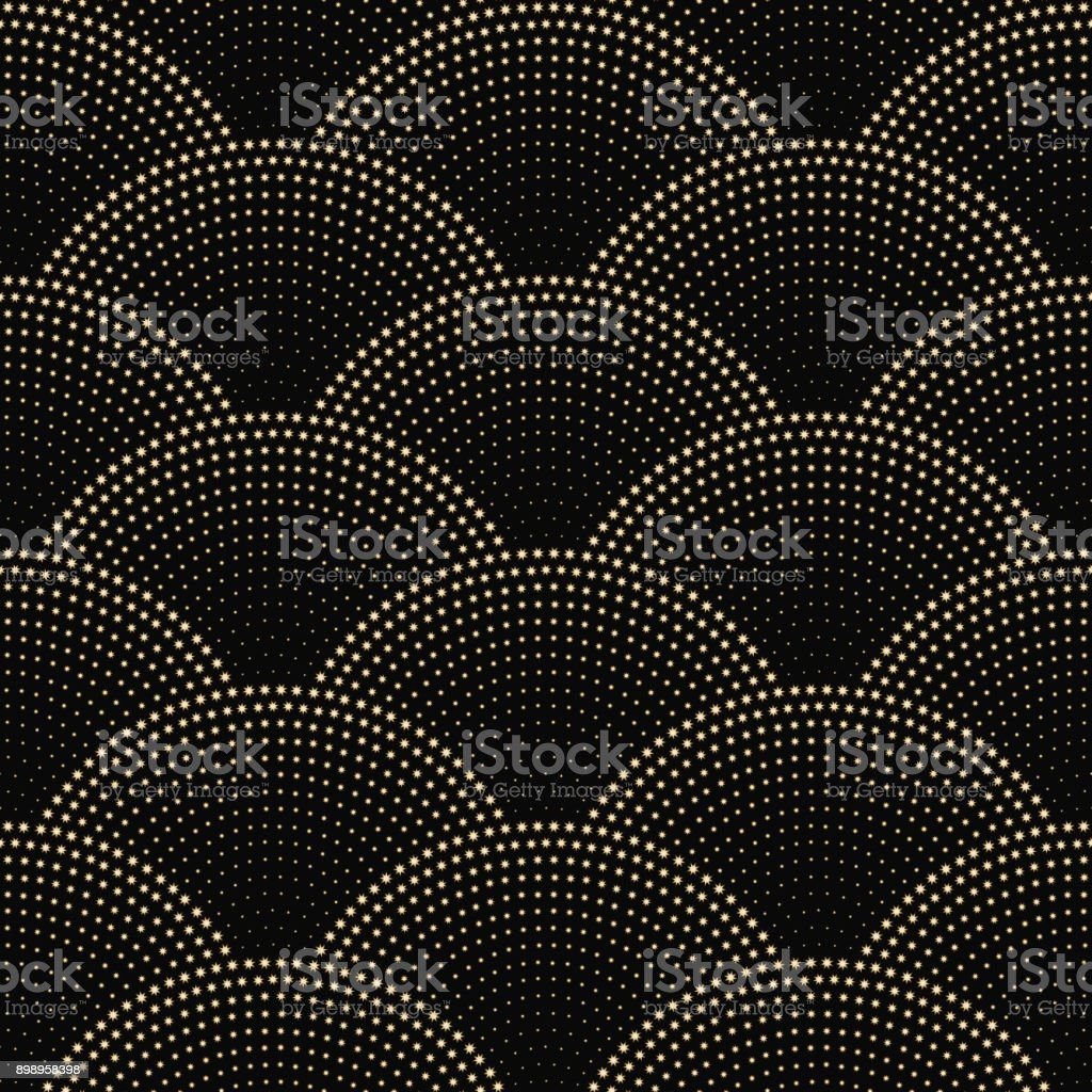 Vector abstract seamless wavy pattern with geometrical fish scale layout. Golden beige snowflakes and  stars on a dark black background. Fan shaped Christmas tree garlands .New Year holiday decoration. vector art illustration