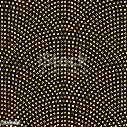 Vector abstract seamless wavy pattern with geometrical fish scale layout. Gold stylized  coffee beans on a dark black background. Fan shaped coffee placer.Wrapping paper, page fill, menu decoration