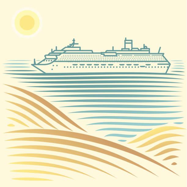 Vektor abstrakte Meereslandschaft mit Luxus-Kreuzfahrtschiff – Vektorgrafik