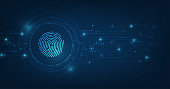 vector abstract security system concept with fingerprint on technology background.