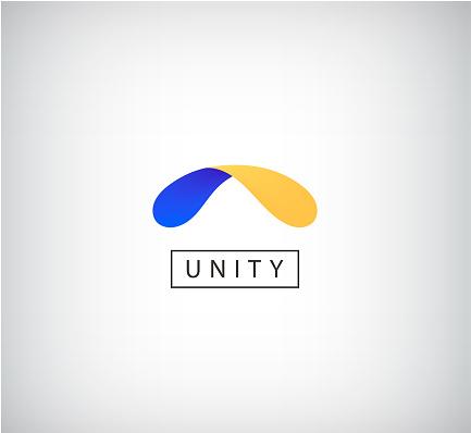 Vector abstract shape dual, unity, arc icon. 2 colors web icon, creative concept