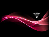 Vector Abstract shiny color pink wave design element on dark background. Science or technology design