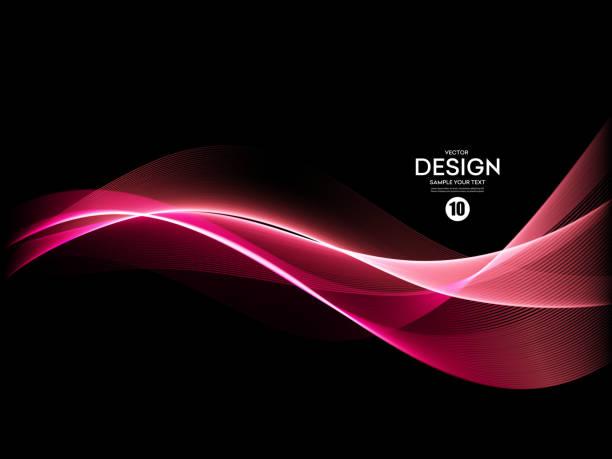 illustrazioni stock, clip art, cartoni animati e icone di tendenza di vector abstract shiny color blue wave design element - magenta