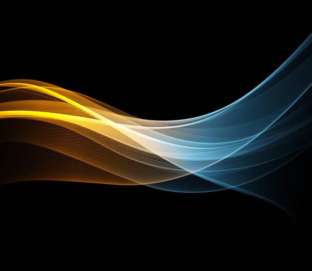 illustrazioni stock, clip art, cartoni animati e icone di tendenza di vector abstract shiny color wave design element - luce gialla