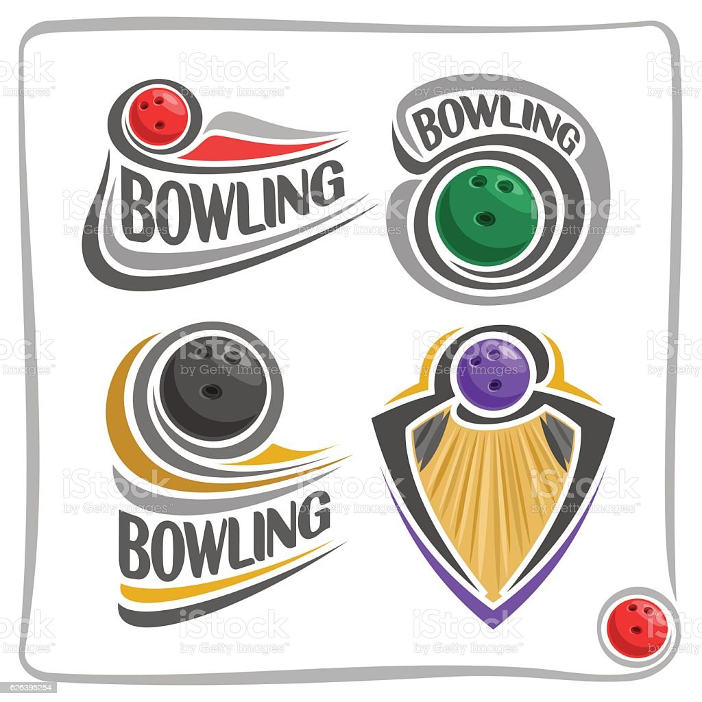 Vector abstract sign Bowling Ball vector art illustration