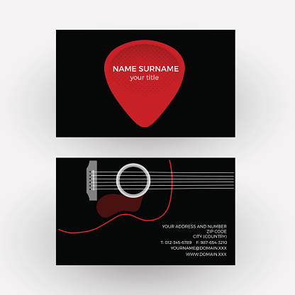 Vector abstract sign plectrum and guitar. Guitarist business card