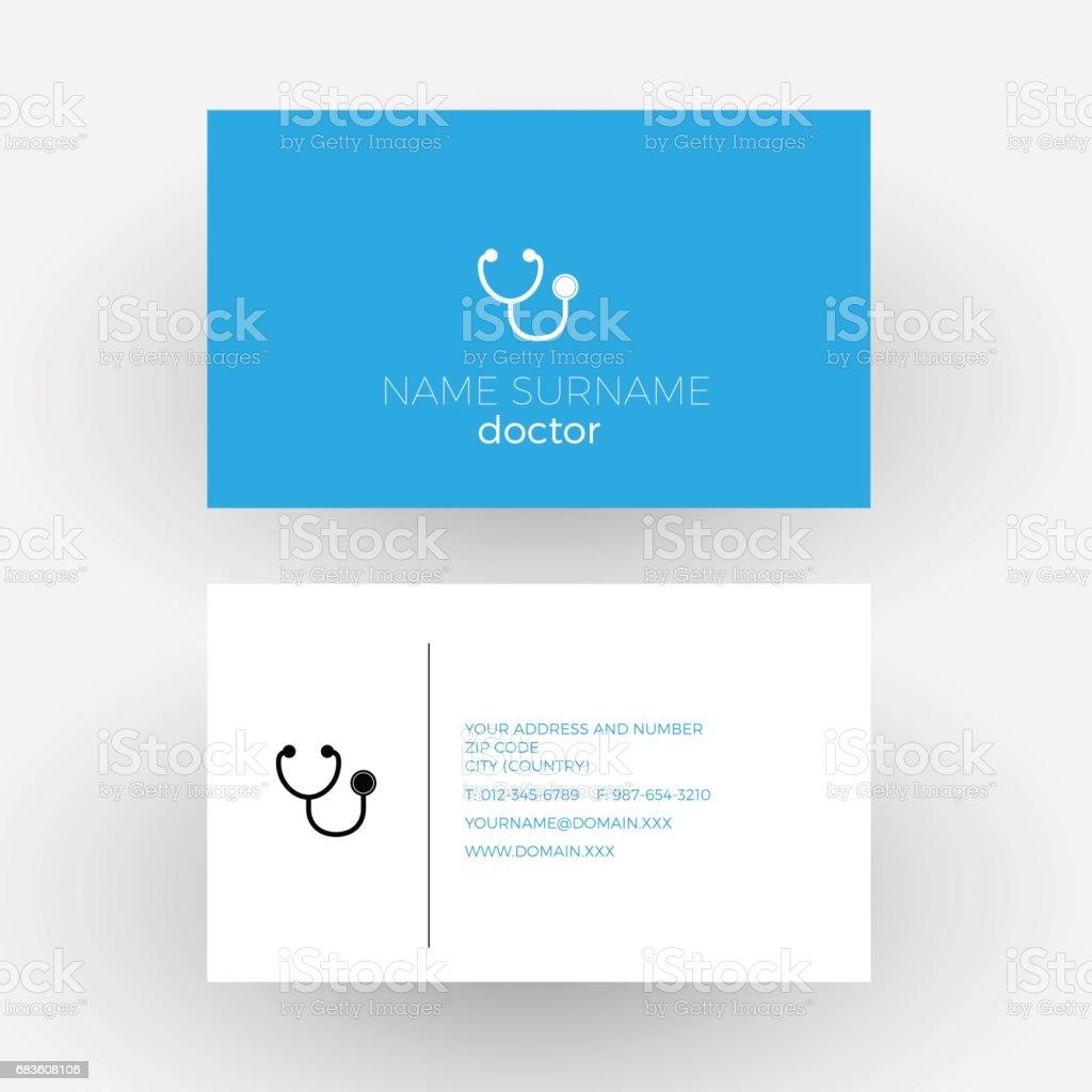 Vektor Abstrakte Zeichen Stethoskop Arzt Visitenkarte Stock