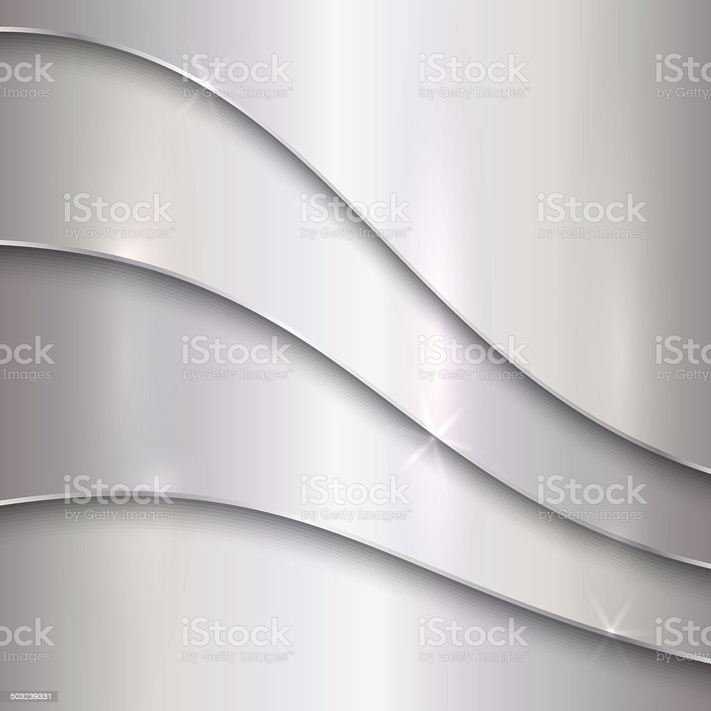 Vector abstract silver metallic background with curves vector art illustration