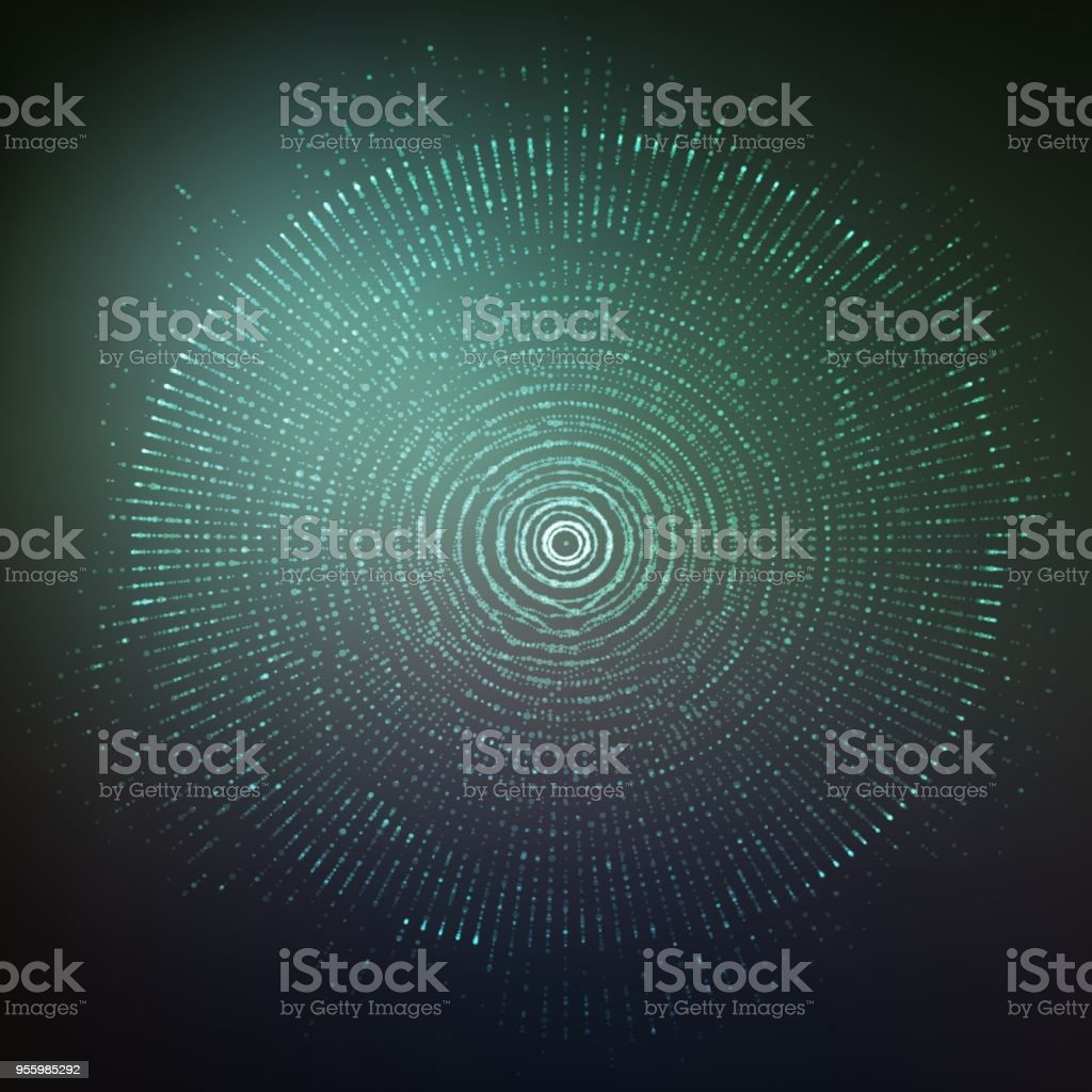Vector abstract sphere of particles, points array. Futuristic vector illustration. Technology digital splash or explosion of data points. Spherical waveform. Cyber UI or HUD element. vector art illustration