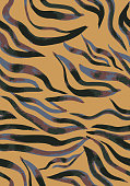 Vector abstract seamless pattern. Watercolor doodle figures made of stained ribbons. Water waves imitation. Zebra skin texture illusion.