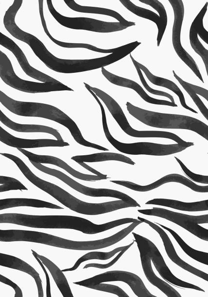 Vector abstract striped seamless pattern. Vector abstract seamless pattern. Watercolor doodle figures made of stained ribbons. Water waves imitation. Zebra skin texture illusion. acrylic painting stock illustrations