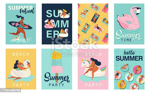 Summer party. Hello summer posters in vector. Cute Retro posters set.
