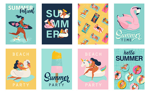 Vector abstract summer time illustration card with pin up girl swimming on animal float circle in ocean waves with calligraphy.
